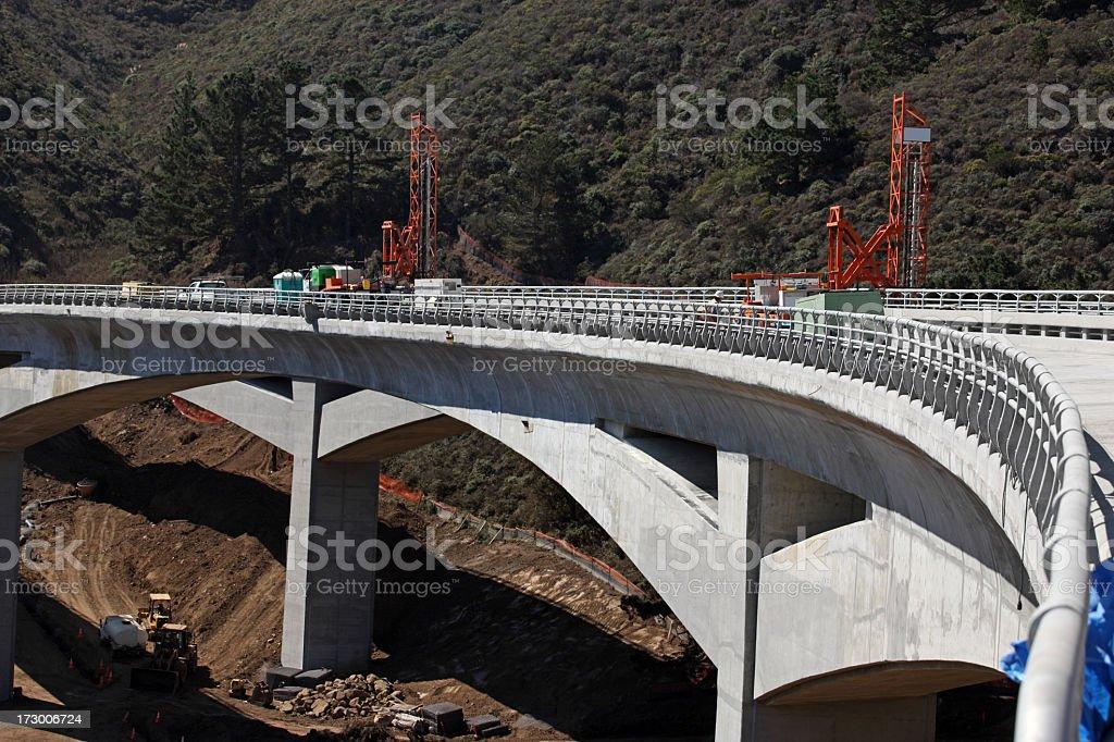 Concrete bridge under construction across fort valley  stock photo