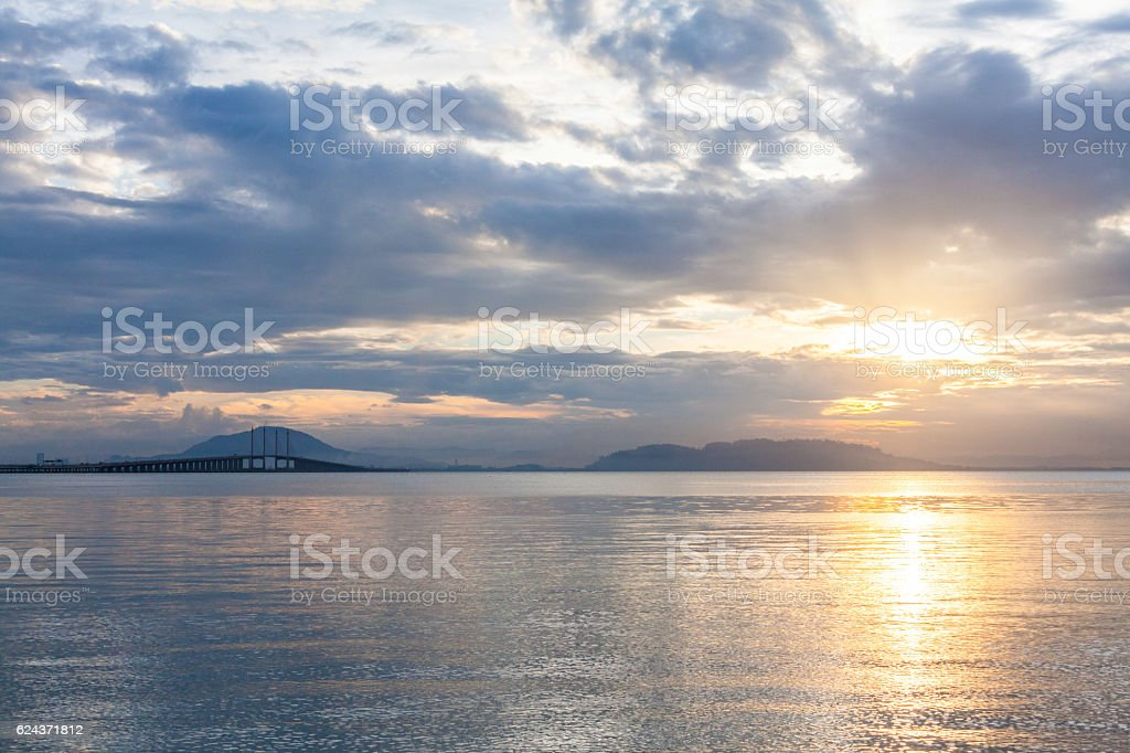 Concrete bridge view during sunrise as background stock photo