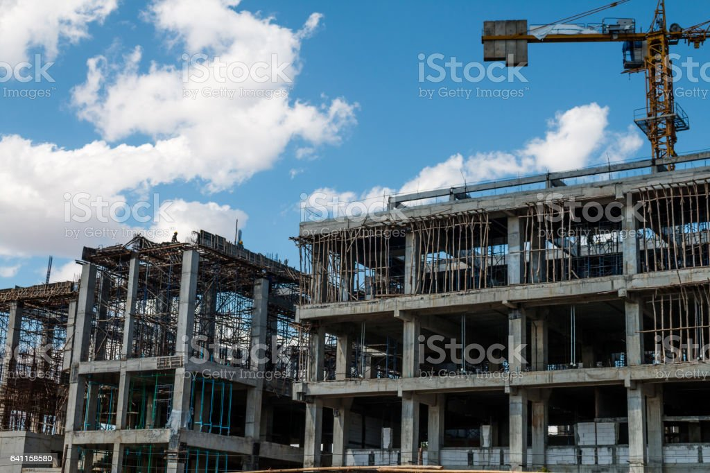 Concrete building construction background. stock photo