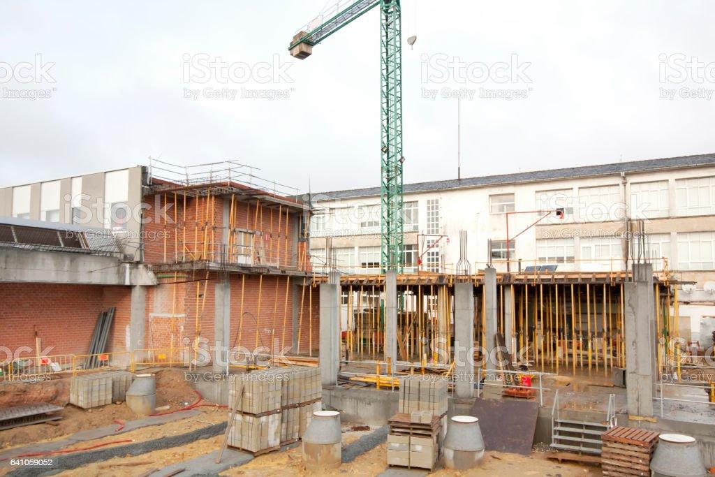 Concrete building construction site stock photo