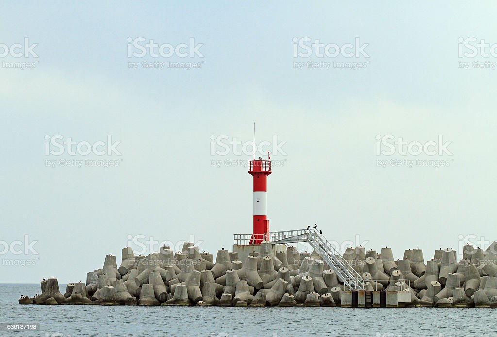 Concrete coastal fortifications in sea port of Sochi stock photo