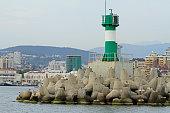 Concrete coastal fortifications in sea port of Sochi
