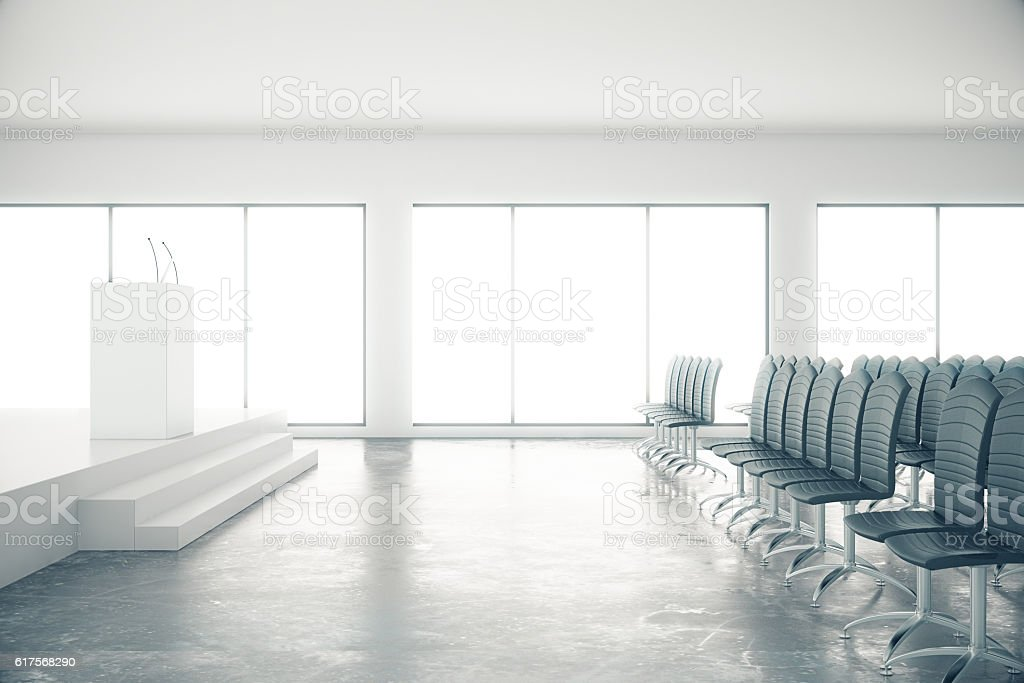 Concrete conference room stock photo