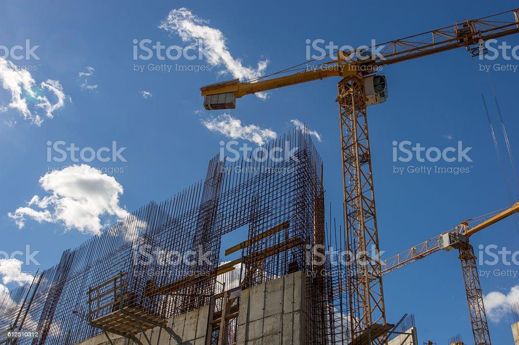 Concrete construction site of new building stock photo