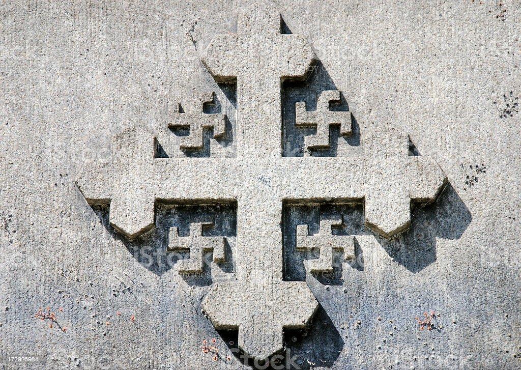 Concrete cross stock photo