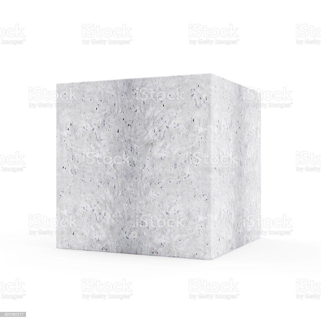 Concrete Cube isolated on white background stock photo