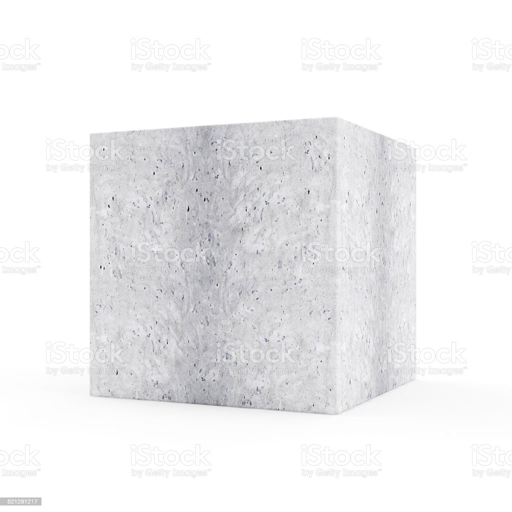 Concrete Cube isolated on white background stock photo