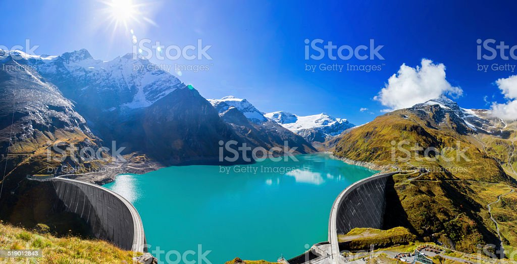 Concrete dam wall of Kaprun XXXL Panorama stock photo