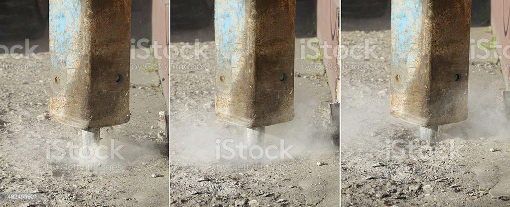 Concrete demolishing stock photo
