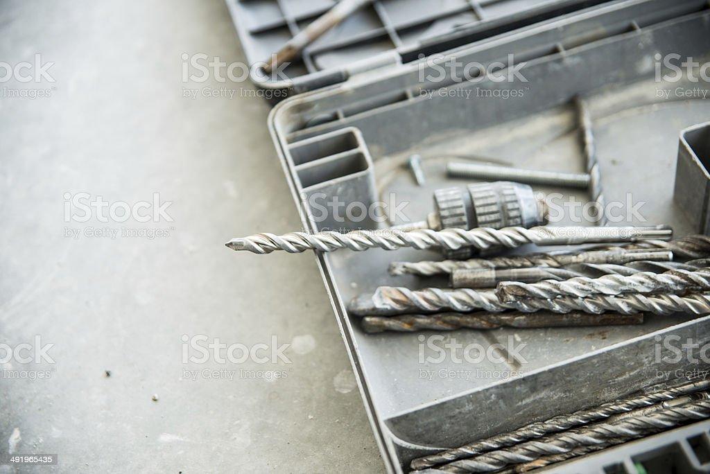 Concrete drill bits stock photo