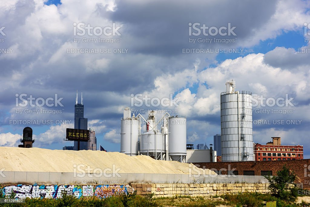 Concrete factory and Willis Tower, Chicago stock photo