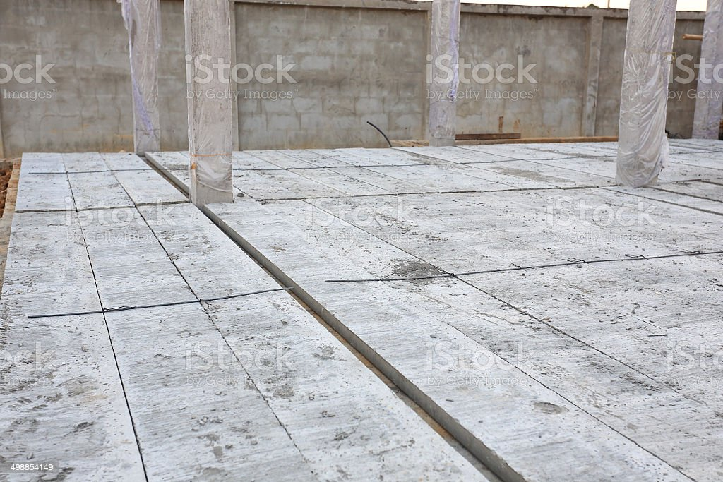 concrete floor slab panel in building construction site stock photo