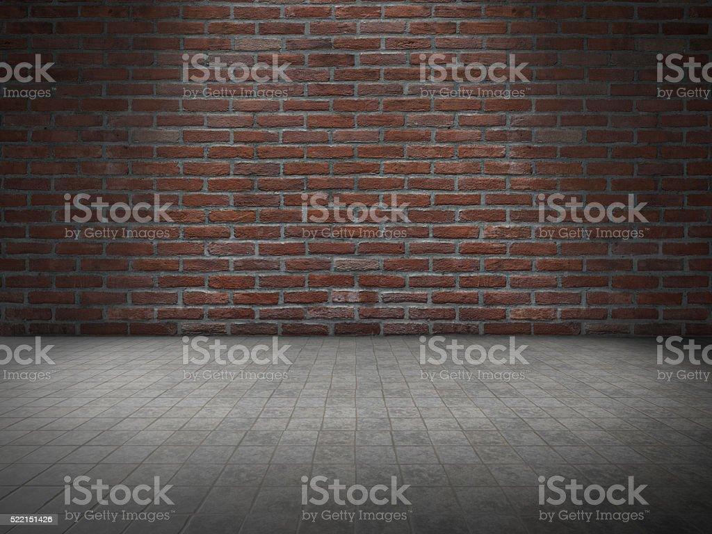Concrete floor with Brick wall royalty-free stock photo