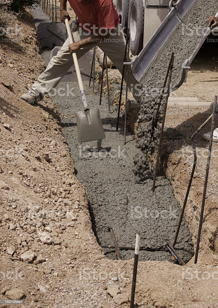 Concrete pour stock photo
