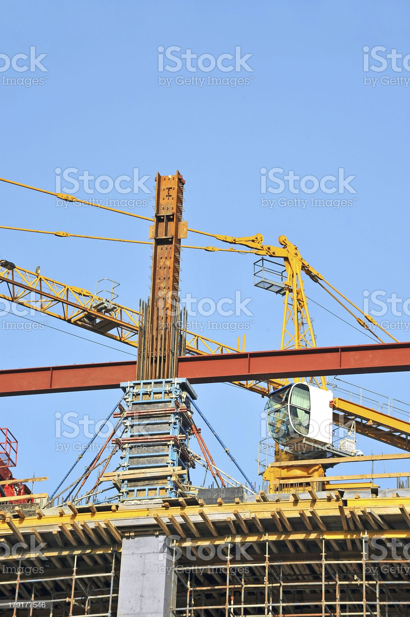 Concrete formwork and crane royalty-free stock photo