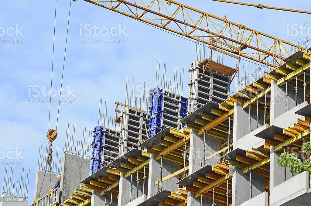 Concrete formwork and crane royalty-free stock photo
