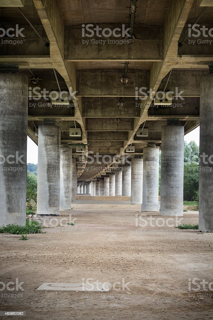 Concrete Highway bridge underside stock photo