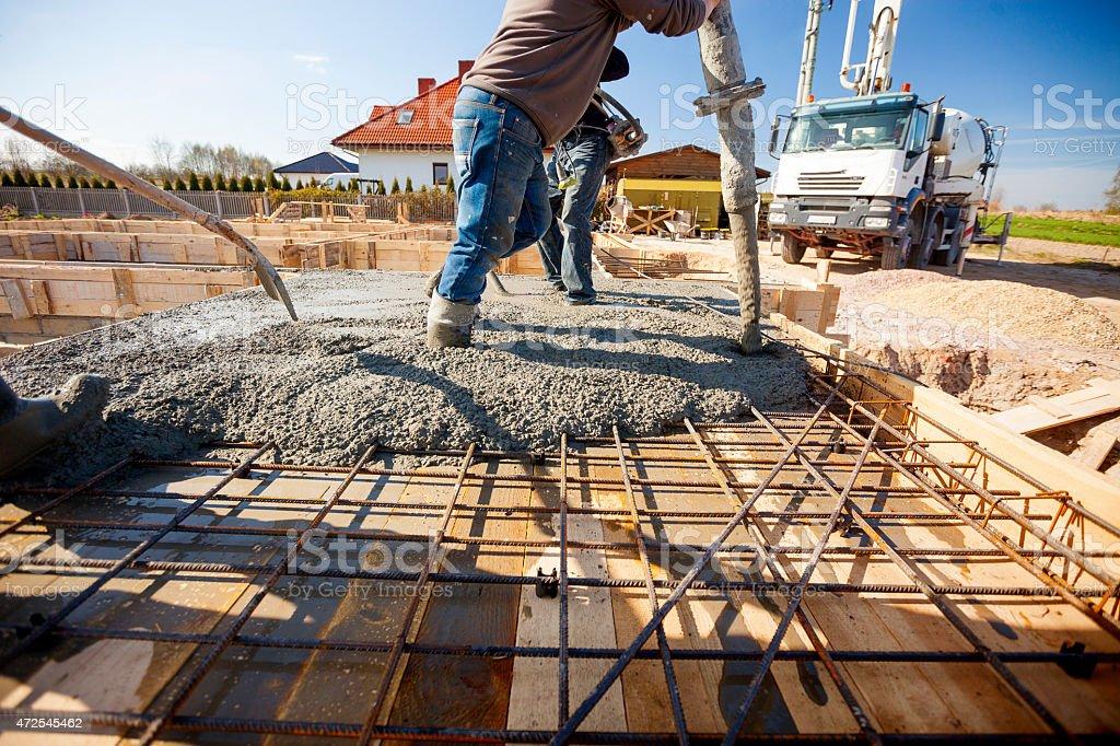 Concrete in formwork stock photo