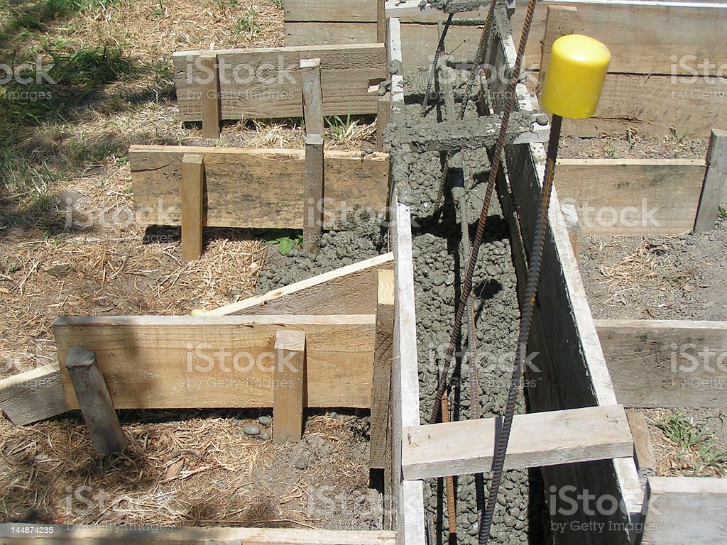 Concrete in foundation boxing stock photo