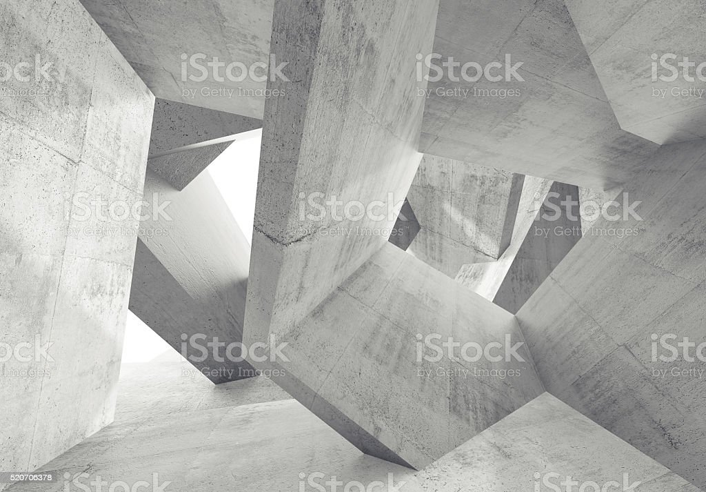 Concrete interior with chaotic 3 d structures stock photo