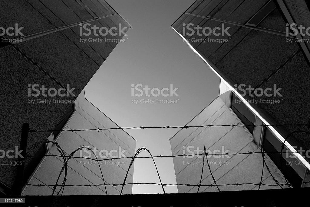 Concrete Jail and Razor Wire royalty-free stock photo