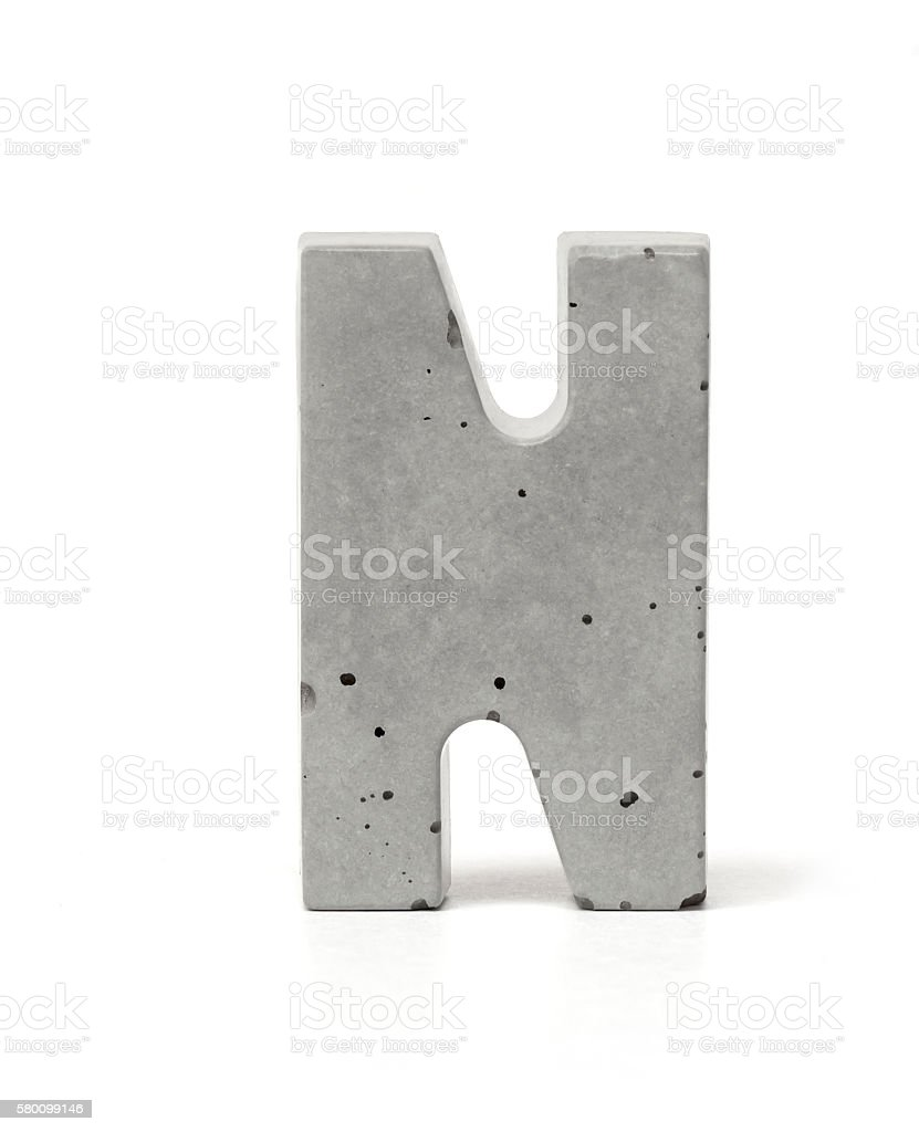 Concrete Letter N stock photo
