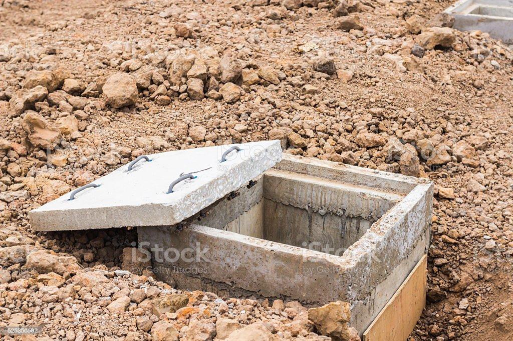 concrete manhole stock photo
