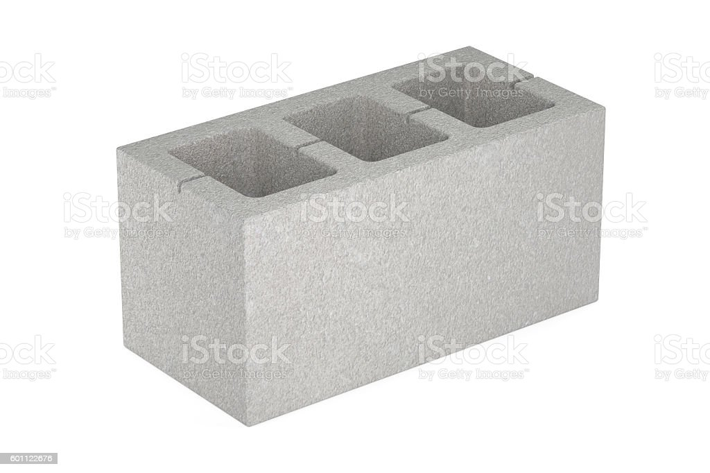 Concrete masonry unit, 3D rendering stock photo