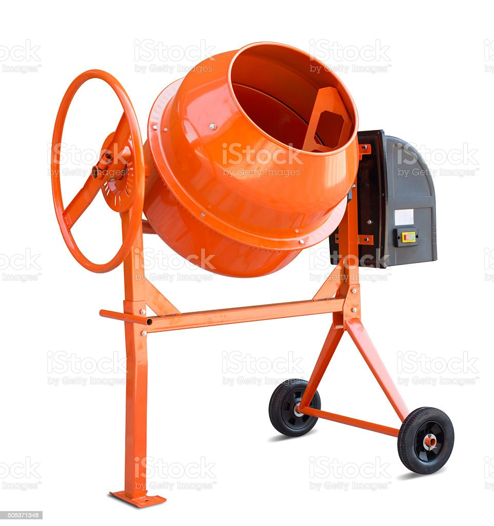 Concrete mixer isolated with clipping path included stock photo