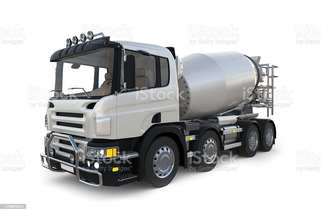Concrete mixer truck on white background stock photo