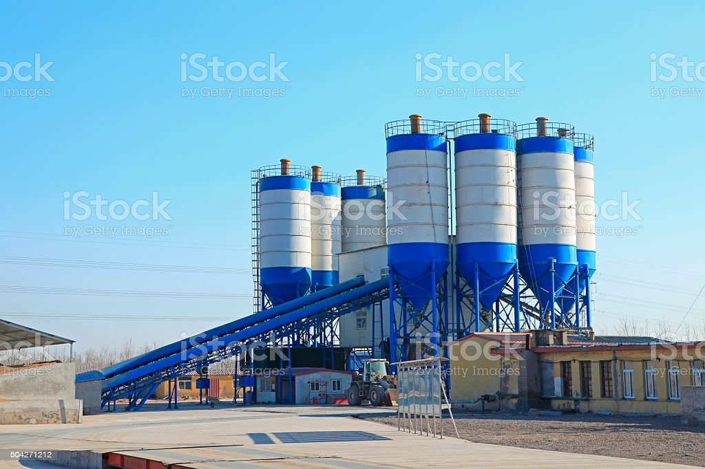 Concrete mixing tower. Concept of on-site construction facility stock photo