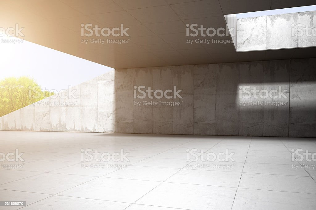Concrete modern achitecture car background 3D rendering stock photo