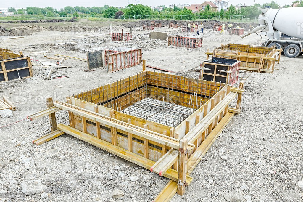 Concrete mold with reinforcement mesh at building site stock photo