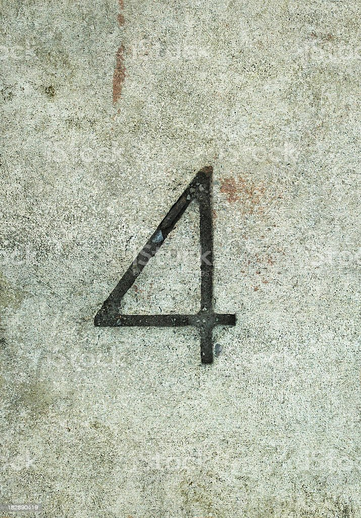 concrete number 4 royalty-free stock photo