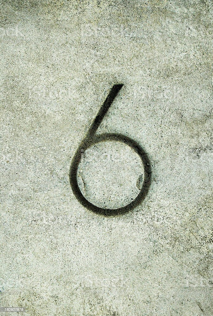concrete number 6 royalty-free stock photo