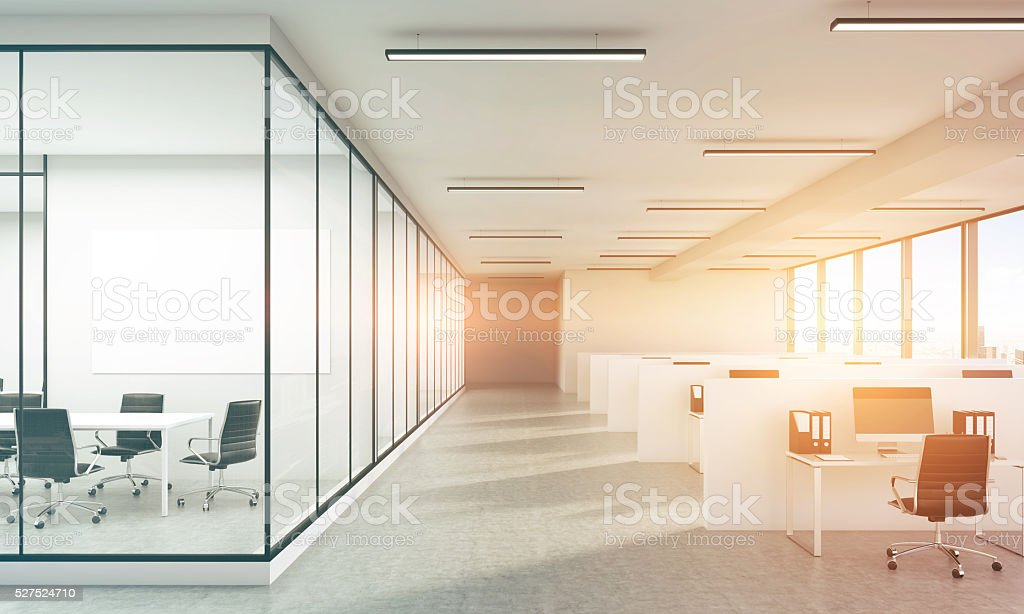 Concrete office sunlight toning stock photo