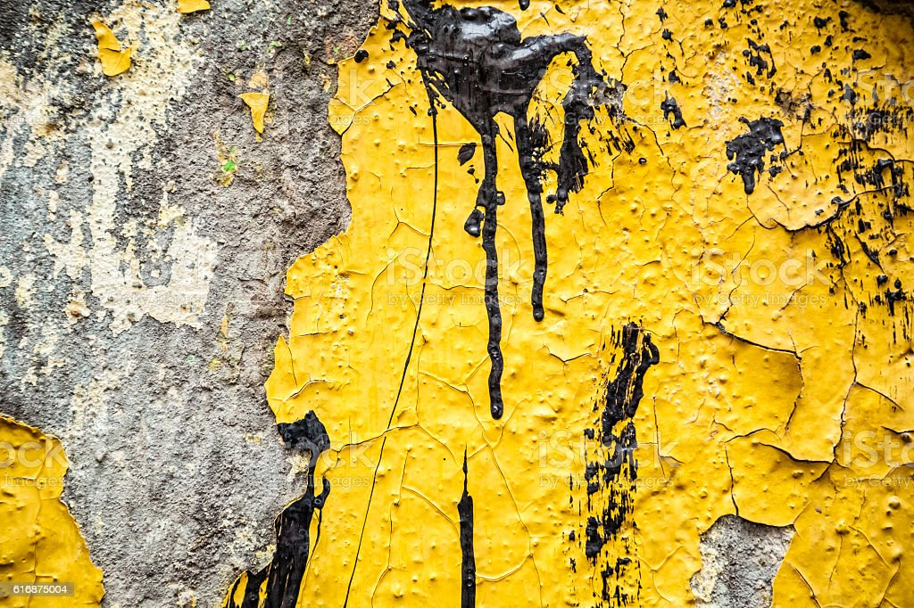 concrete painted with yellow paint drips vector art illustration