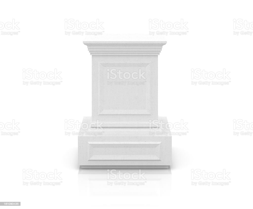 Concrete Pedestal on White stock photo