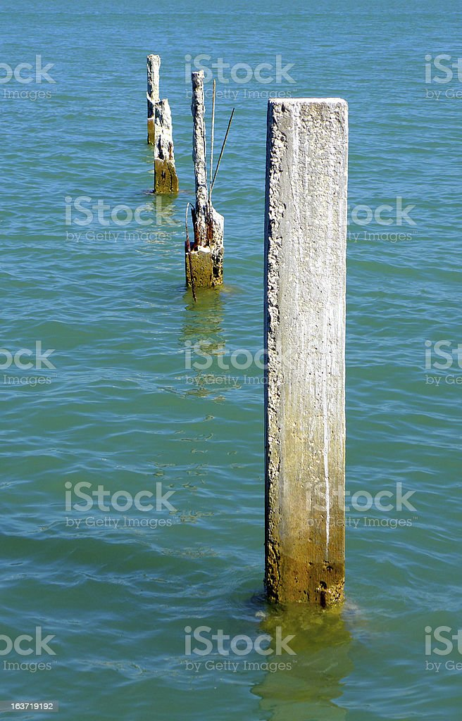 Concrete pilings in Florida waters royalty-free stock photo