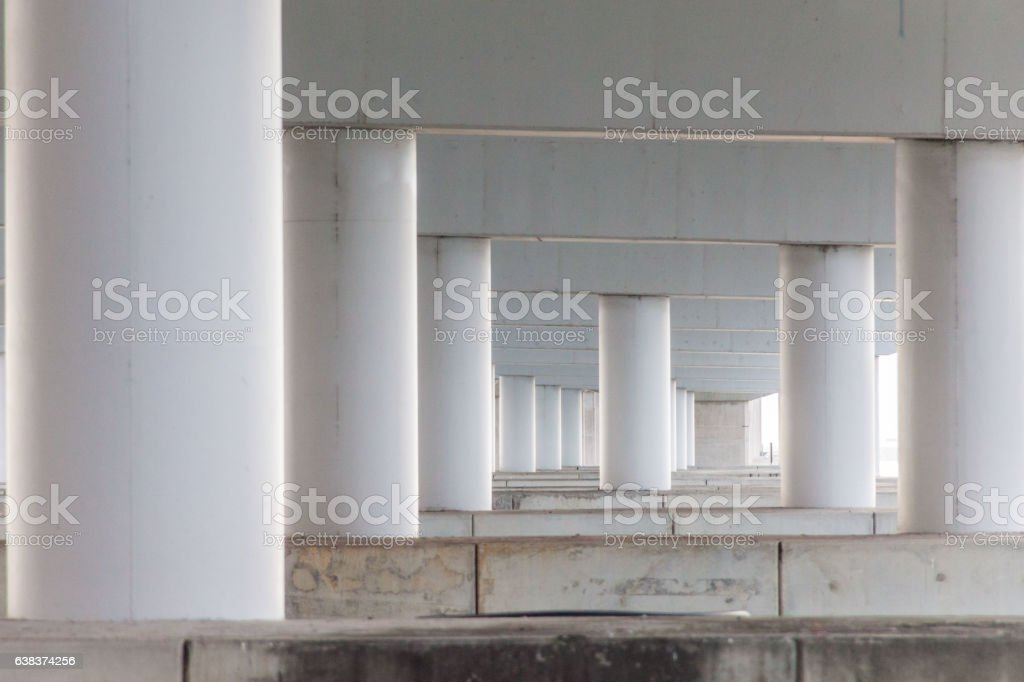 Concrete pillar for road or bridge construction stock photo
