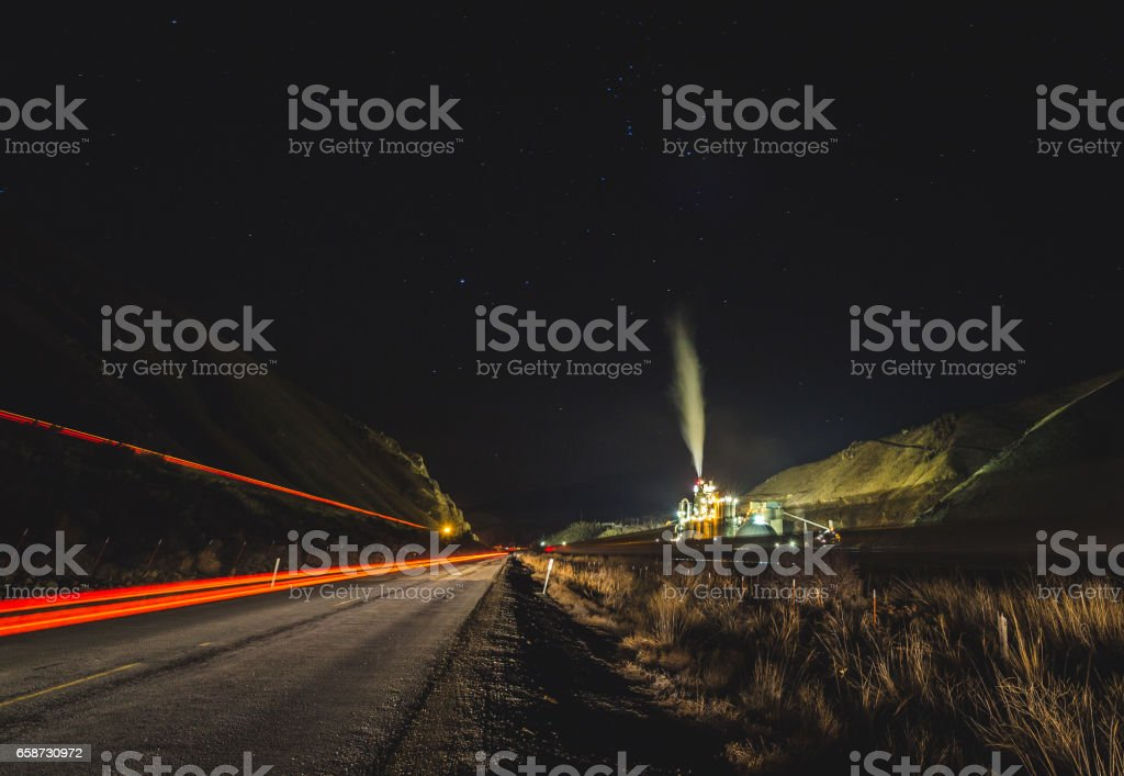 Concrete Plant Near Highway at Night stock photo