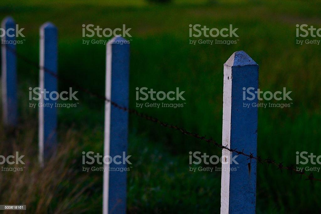concrete pole fence stock photo