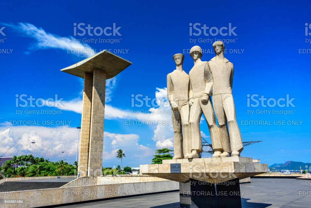 Concrete portal sculpture and granite statue at the National Monument to the Dead of the Second World War, Rio de Janeiro stock photo