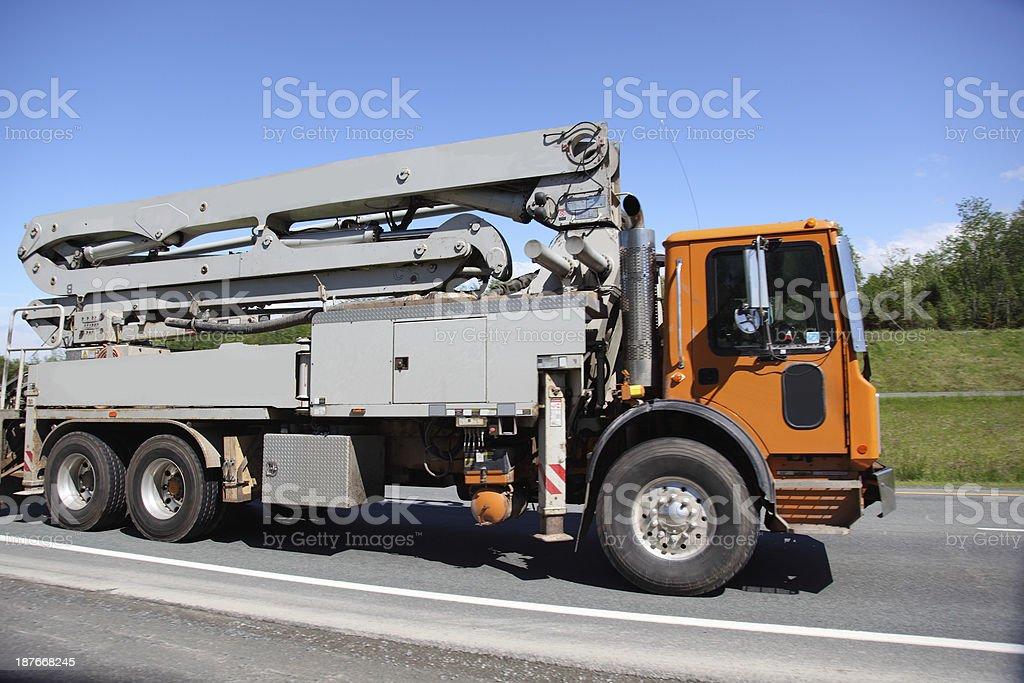 Concrete pumper truck stock photo