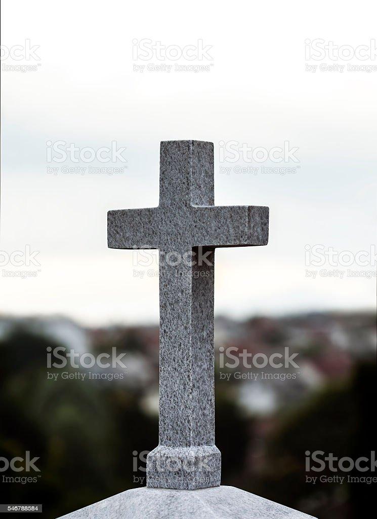 Concrete religious cross stock photo