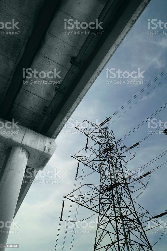 Concrete roadway and pylon stock photo