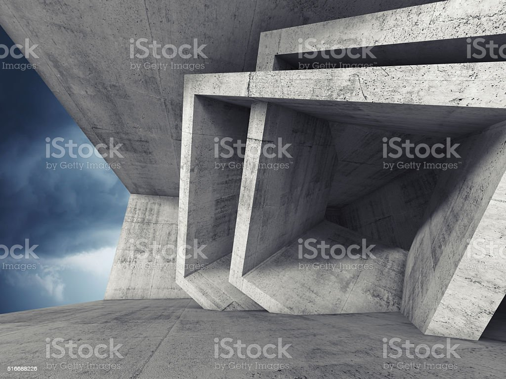 Concrete room 3d interior with cubic structures stock photo