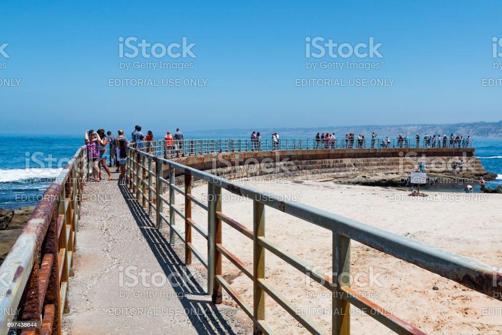 Concrete Sea Wall Built in 1931 in La Jolla, California stock photo
