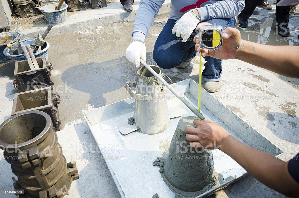 Concrete slump test before pouring a foundation stock photo