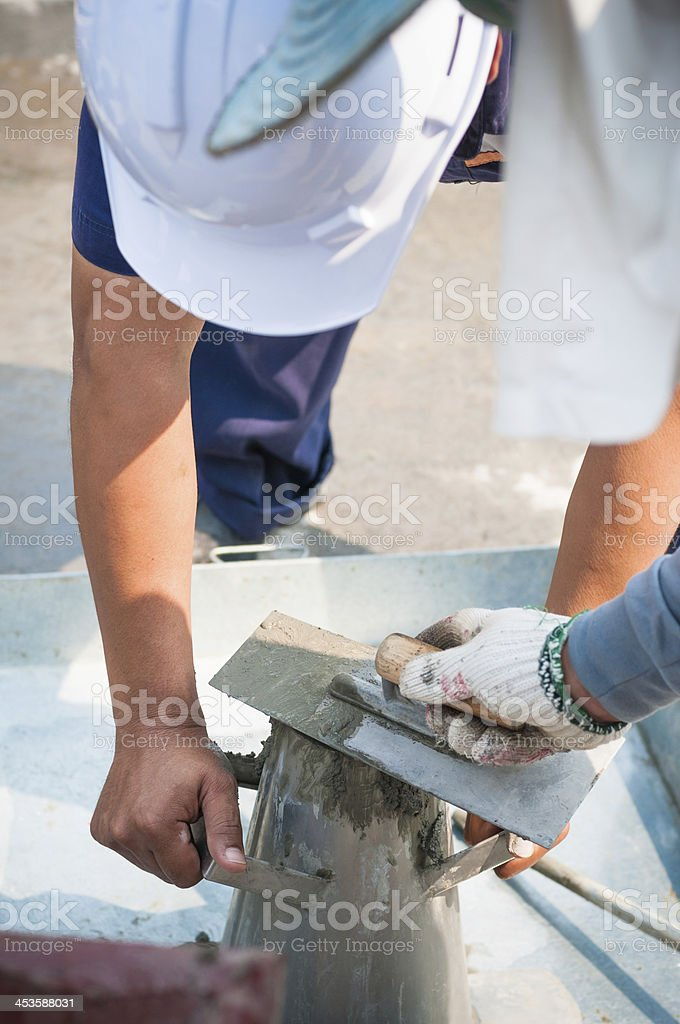 Concrete slump test before pouring a foundation royalty-free stock photo